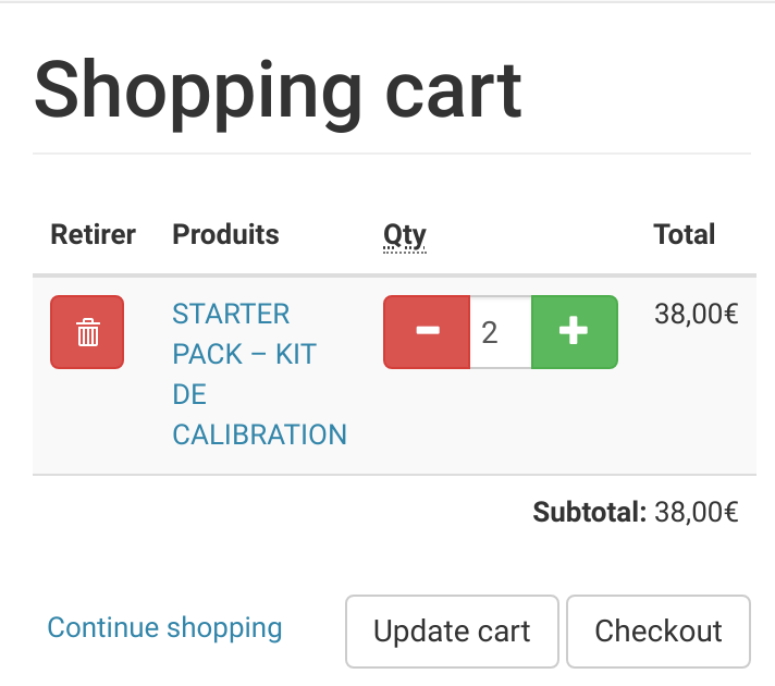 Cart with plus and minus button